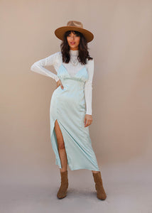 Woven Satin Midi Dress with high side slit. Light Blue Midi Dress