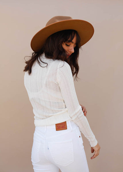 Ribbed and Sheer Mock Turtleneck. Perfect layering piece. White Color