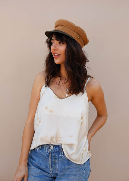 Embroidered cami with moon and stars. Cream Silk Top with moon and stars