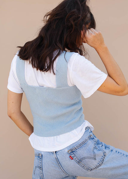 Knit Square Neck Tank Top. Light Blue Tank Top. Everyday tank top
