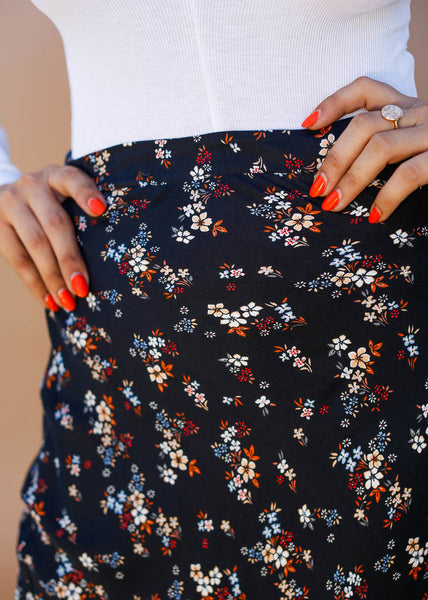 black floral long skirt, ankle length, midi skirt, floral pattern