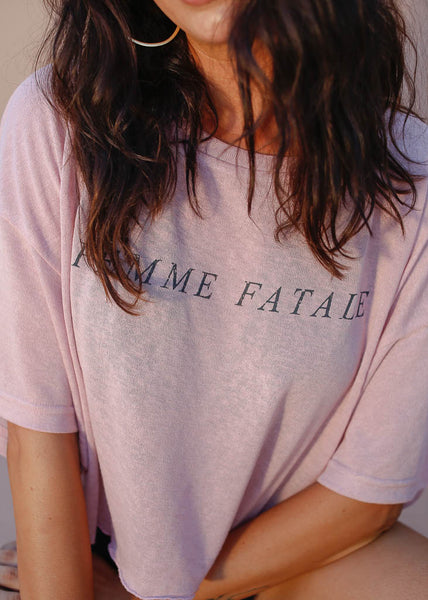 Oversized boxy crop tee. Sheer blush tee with Femme Fatale design on front