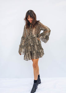 Long Sleeve Mini Dress, Snakeskin Print, Tiered Ruffle Layers