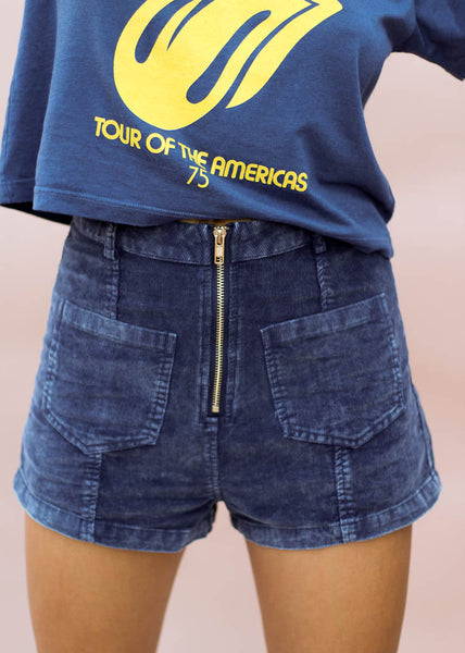 navy blue corduroy shorts with gold exposed zipper and front panel pockets