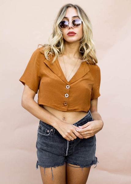 silky cropped button down top with collar