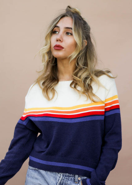 navy and cream color block lightweight sweater with rainbow stripe detail