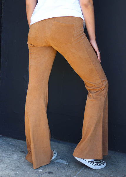 elastic waist, stretch corduroy bells with back pockets