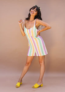 pastel colorful stripped romper with tie straps and pockets