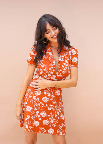 rust color, floral design, collared mini dress with button up front