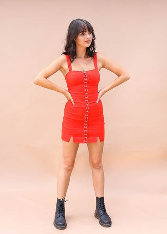 form fitting cocktail dress with exposed hook and eyes and adjustable straps