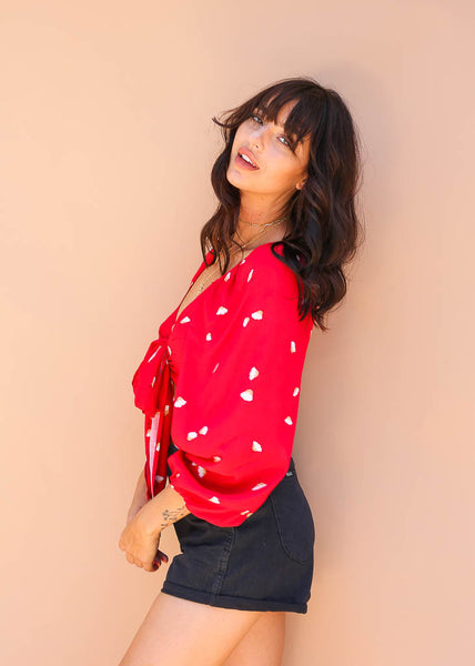 red with flower print tie front crop top with puff sleeves