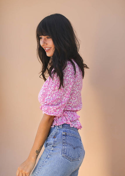 half sleeve, pink and white floral print front swirled ruffle top