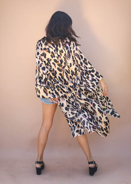 animal print Kimono, robe with side slits