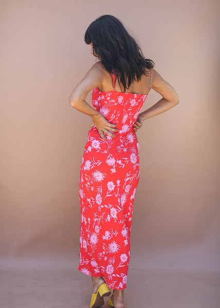 hawaiian floral, red and pink midi dress