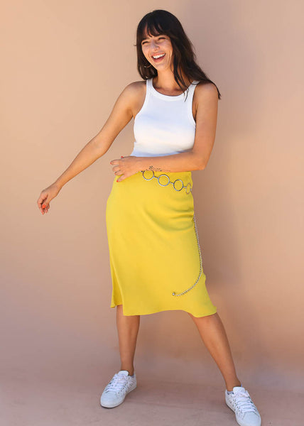 polyester, lime colored midi skirt with elastic waist band