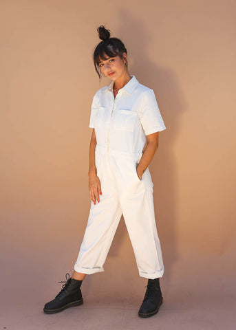 White denim short sleeve button down  jumper with front pockets
