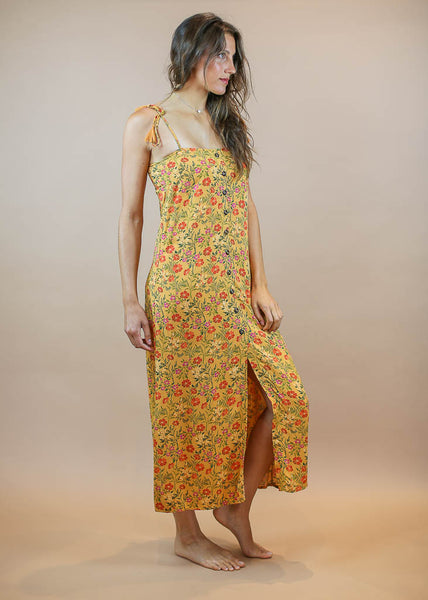 vintage inspired floral print maxi button down dress with tassel tie straps