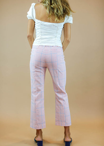 pink and blue plaid pants