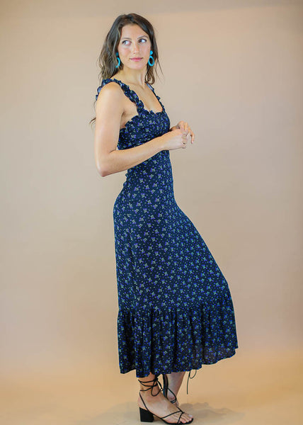 navy blue, form fitting, floral maxi dress with back zipper