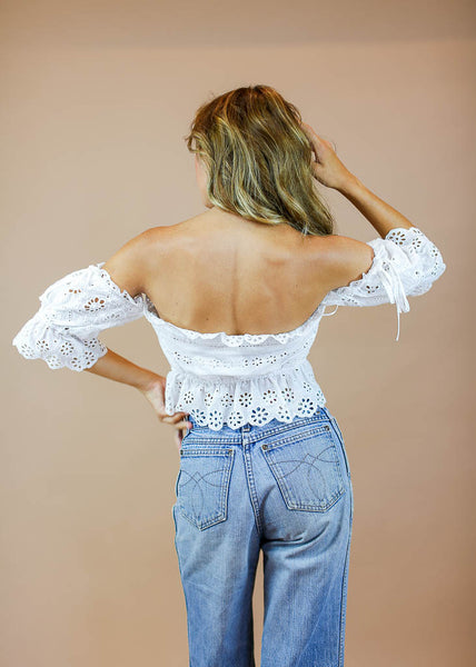 off the shoulder, lace detail tie front crop top