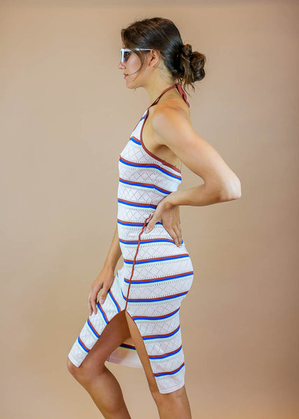 striped bodycon daytime dress with halter tie and side slit