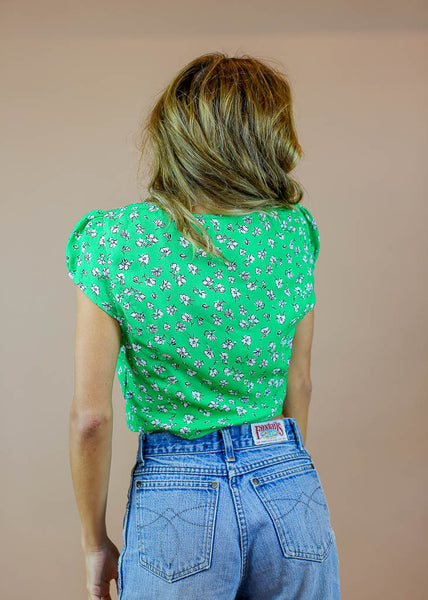 green floral button down top