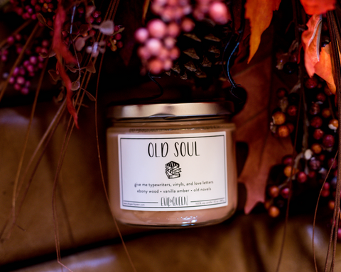 12 oz jar, 100% soy wax and with scents of Amber, ebony, and a touch of vanilla