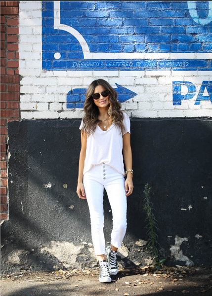 loose knit t-shirt, white with deep scoop neck line
