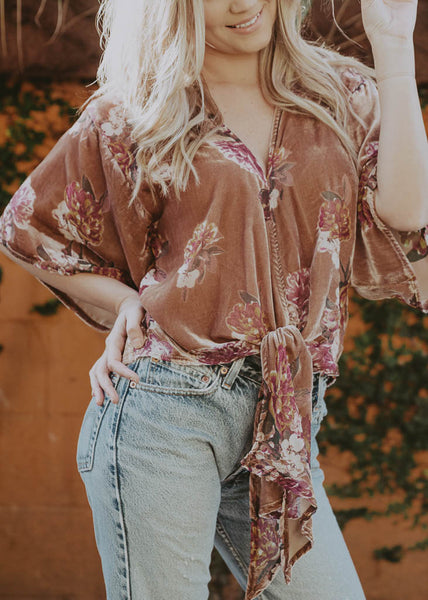 oversized velvet floral burn out blouse with front tie