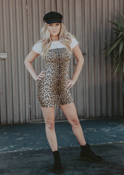 mini bodycon leopard dress with adjustable strapps