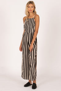 stripped jumper with side slits and a high neck