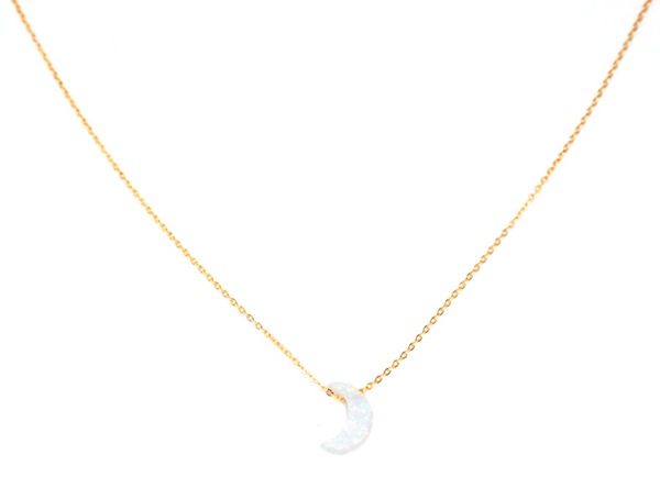gold filled opal crescent moon necklace