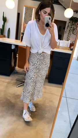 white leopard print midi skirt with elastic waist
