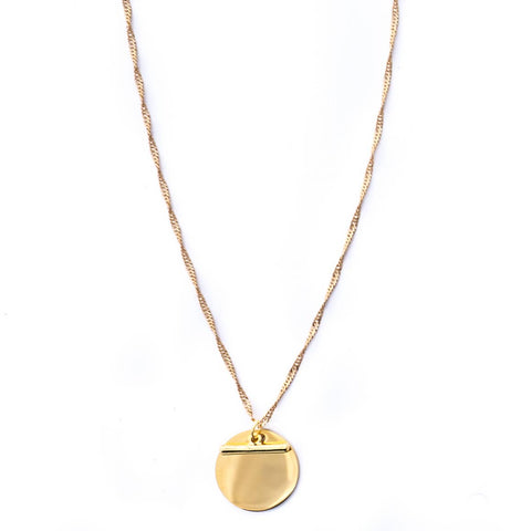 rope chain, disc and bar pendent necklace gold plated