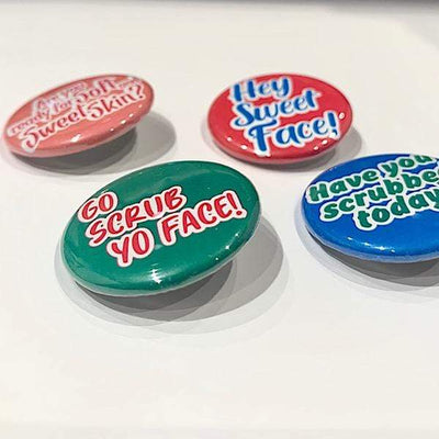 "Oh So Sweet Scrubs LLC ""Hey Sweet Face!"" Skincare Statement Badge"