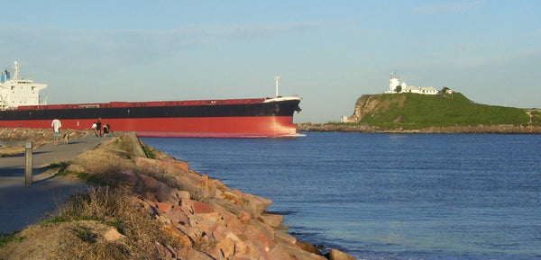 Red Oxide Ship Newcastle Harbour Nobbys Headland