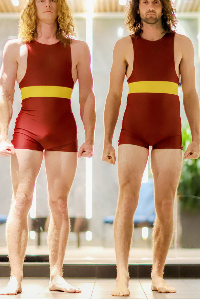 Men's One Piece, Red Oxide and Safety Yellow (Italian Recycled Knit Nylon & Lycra)