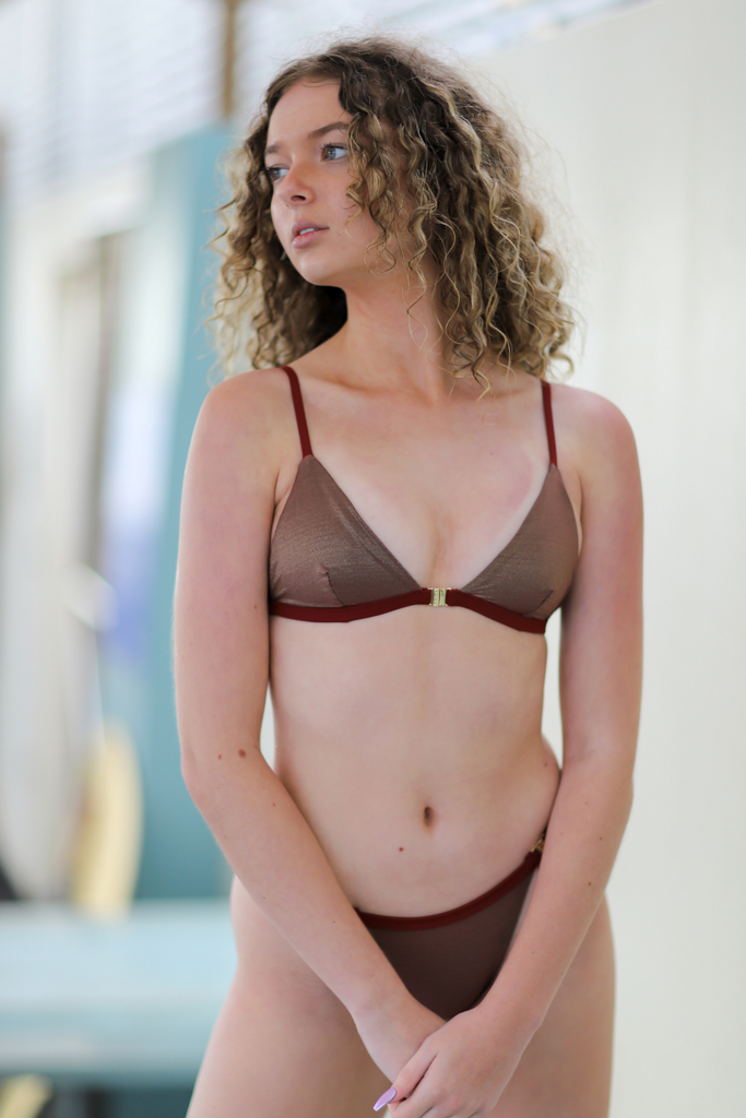 Red Oxide and Gold Bikini (French Woven Composite Fibre)
