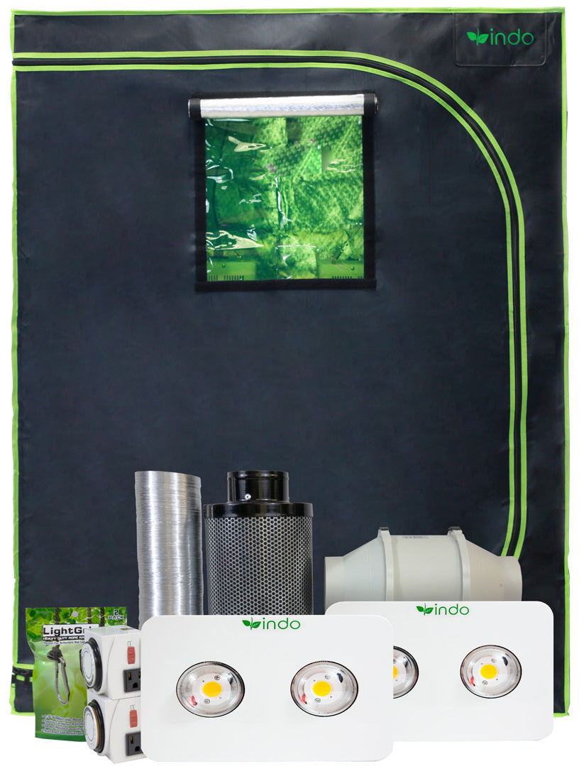 "Complete Grow Kit - 48""x24""x63"" 1680D Grow Tent - Dual Light - 2 x 400W CREE Full-Spectrum LED - 4"" Fan and Filter"