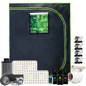 "Complete Grow Kit - 48""x24""x63"" 1680D Grow Tent- DUAL LIGHT 2 x 800W CREE Full-Spectrum 2-COB + LED with Veg & Bloom Switch -4"" Fan and Filter"