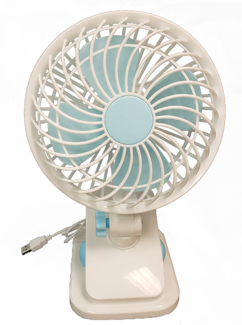 "Clip Fan - 6"" USB White, Swivel Head, 2 Speed, includes USB plug adaptor"