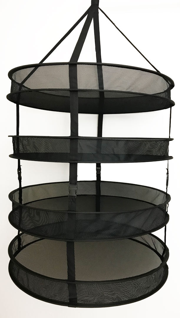 "Drying Rack - Fabric Mesh dryer rack with 4 Tray (D24"" 4-Tier, Black) with storage case"
