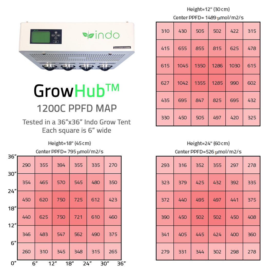 "GrowHub™  1200C 300W Complete Grow Kit - 36"" x 36"" x 72"" Tent"