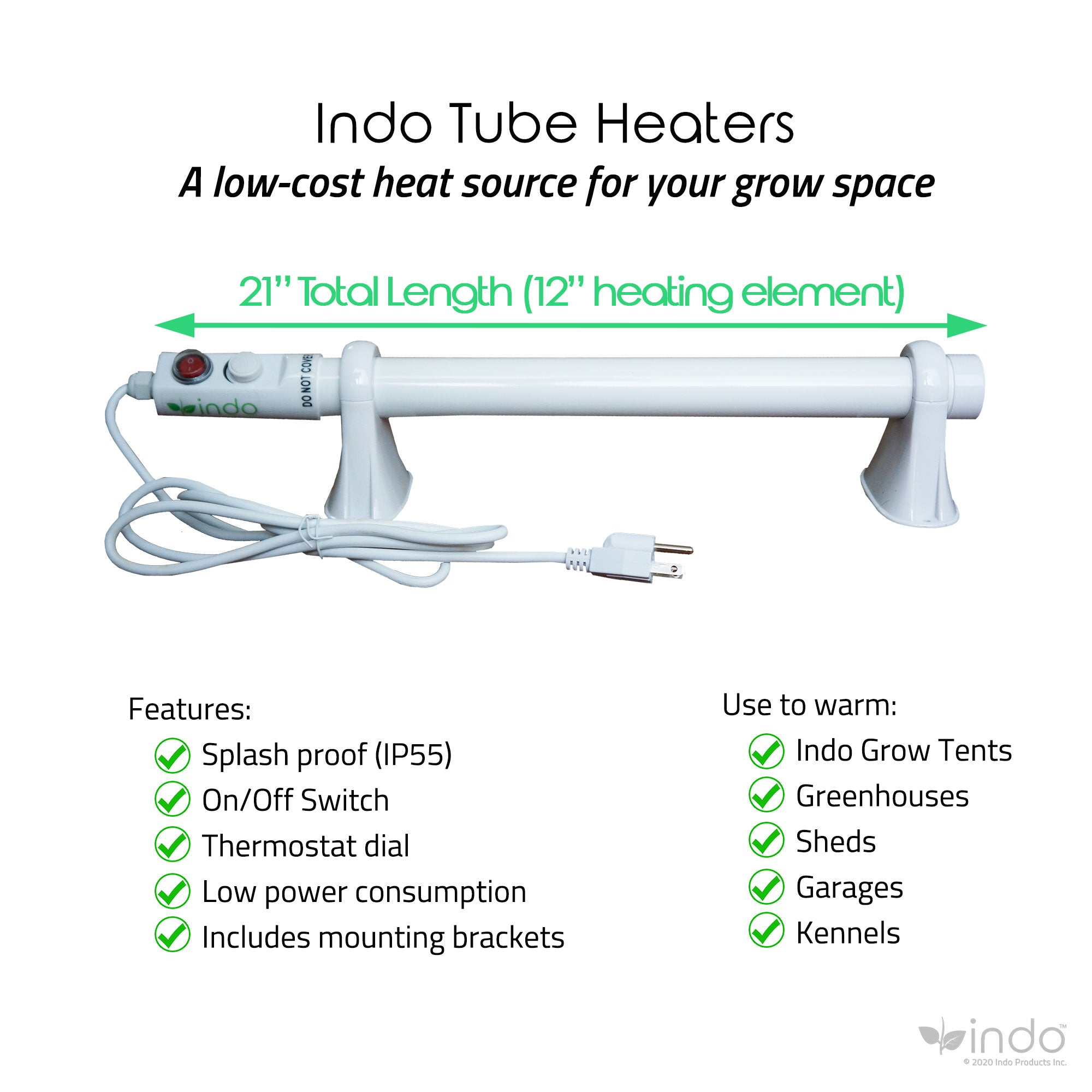 "Tube Heater 12"" - splash proof for grow tents, greenhouses, ambient heat, 60W"