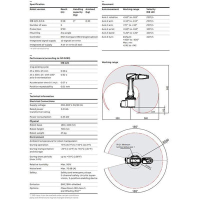 IRB 120 ABB's Smallest 6 Axis Robot Specification Sheet