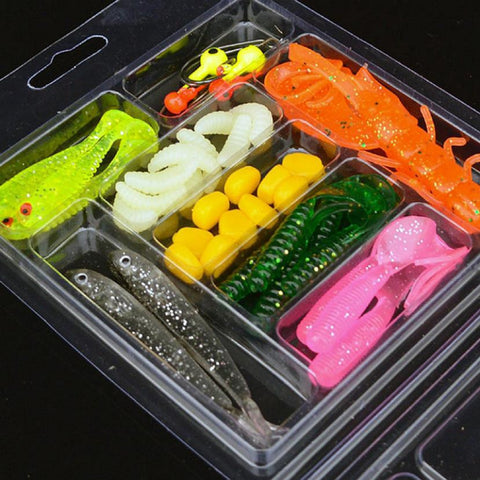 39Pcs Soft Worm Lure Set