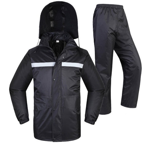 unisex Waterproof Rain suit rain Set black rainwear rain coat waterproof reflective