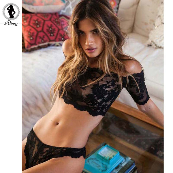 2017 New sexy lingerie hot black rose lace one word shoulder perspective erotic underwear+sexy thongs lenceria sexy costumes