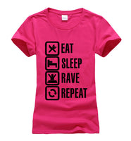 2017 Summer Eat Sleep Rave Repeat print  t shirt Women brand tops harajuku tee pink shirt funny angel casual femme black white