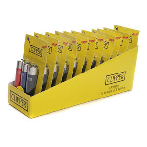 12 x 3 Blister Pack Clipper Large Solid Lighters - CL116UKH